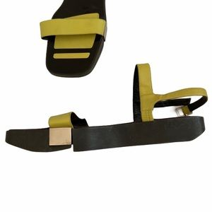 Gucci Lime Green, Black, Platform Square Sandals